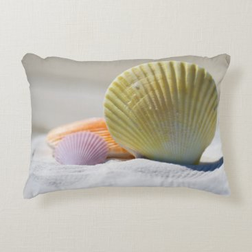 Beach Themed Colorful Seashells in the Sand Accent Pillow