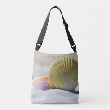 Beach Themed Colorful Seashells in the Sand Crossbody Bag
