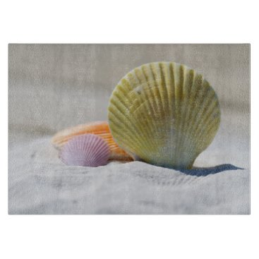 Beach Themed Colorful Seashells in the Sand Cutting Board