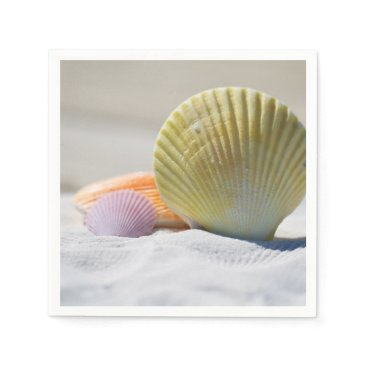 Beach Themed Colorful Seashells in the Sand Paper Napkin
