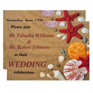 Colorful Seashells on Sand Wedding Invitation