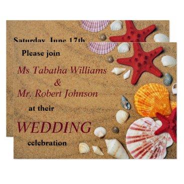 Beach Themed Colorful Seashells on Sand Wedding Invitation