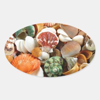 Colorful seashells pattern oval sticker