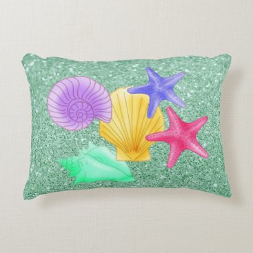 Beach Themed Colorful Seashells & Starfish Soft Green Accent Pillow