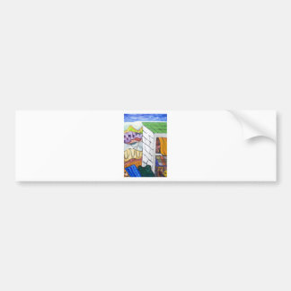 Colorful Seaside Resort (naive painting) Bumper Sticker