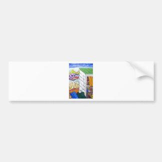Colorful Seaside Resort (naive painting) Car Bumper Sticker