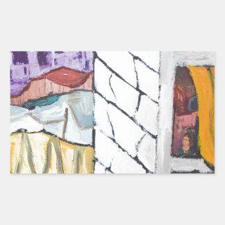 Colorful Seaside Resort (naive painting) Rectangular Sticker