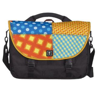 Colorful Sewed Stitching Plaid Patterns Laptopp Ba Laptop Commuter Bag