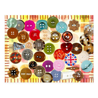 Colorful sewing buttons postcard