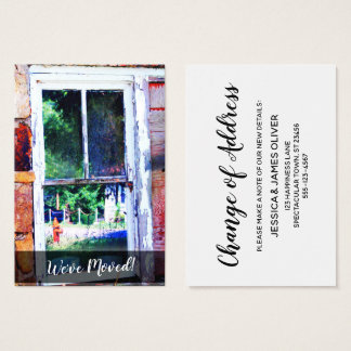 """Colorful Shabby House Window """"We've Moved"""" Card"""
