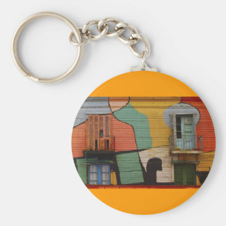 Colorful Shacks Buenes Aires Argentina Basic Round Button Keychain