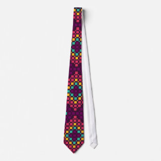 Colorful Shades of Motivo Grid Pattern Neck Tie