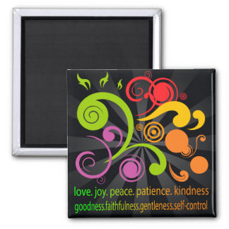 Colorful Shapes, Fruit of the Spirit 2 Inch Square Magnet