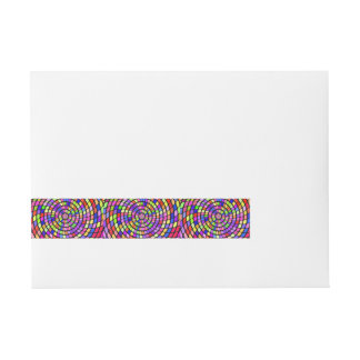 Colorful shapes whirlpool wrap around address label
