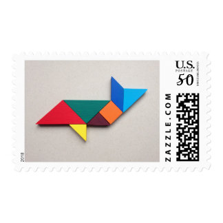 Colorful shark Tangram Postage
