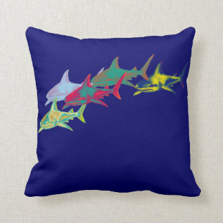colorful sharks on blue throw pillow