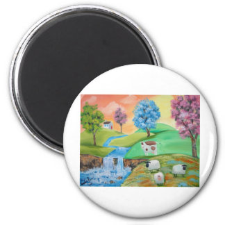 COLORFUL SHEEP COWS FOLK PAINTING 2 INCH ROUND MAGNET