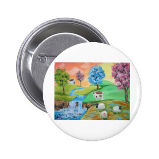COLORFUL SHEEP COWS FOLK PAINTING BUTTONS