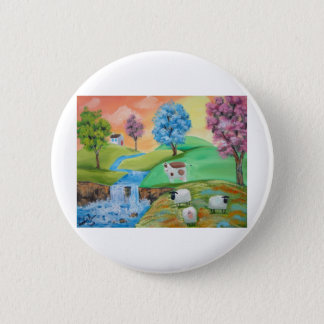 COLORFUL SHEEP COWS FOLK PAINTING PINBACK BUTTON