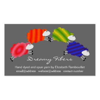 Colorful Sheep Fiber Artist Hangtag Business Card