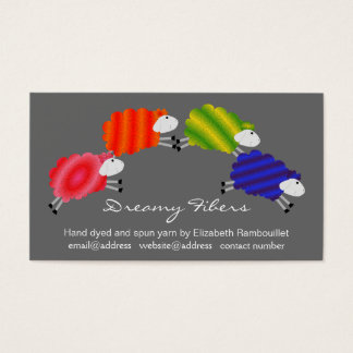 Colorful Sheep Fiber Artist Hangtag Business Card