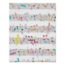 Colorful Sheet Music Notes Poster
