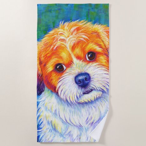 Colorful Shih Tzu Dog Beach Towel