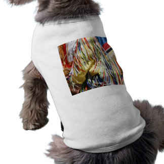 Colorful shimmer fringe close up doggie tee
