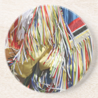 Colorful shimmer fringe close up drink coaster