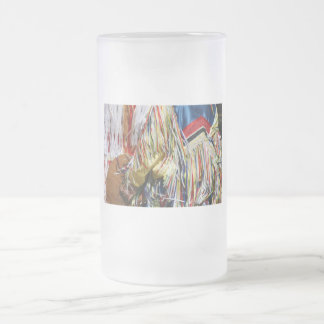 Colorful shimmer fringe close up frosted glass beer mug