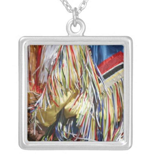 Colorful shimmer fringe close up square pendant necklace
