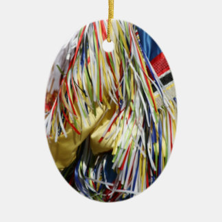 Colorful shimmer fringe close up christmas ornament