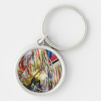 Colorful shimmer fringe close up Silver-Colored round keychain