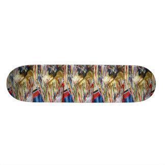 Colorful shimmer fringe close up skateboard deck