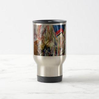 Colorful shimmer fringe close up travel mug