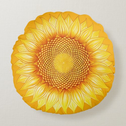 Colorful Shining Sunflower Mandala Pillow
