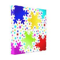 Colorful Shiny Snowflake Pattern Canvas Print