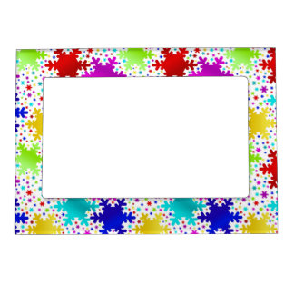 Colorful Shiny Snowflake Pattern Magnetic Photo Frame