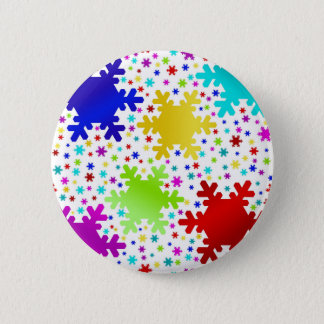Colorful Shiny Snowflake Pattern Pinback Button