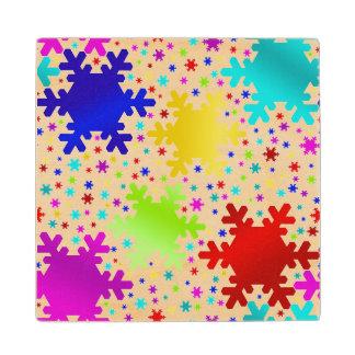 Colorful Shiny Snowflake Pattern Wood Coaster