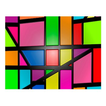 Colorful Shiny Tiles Postcard by RainbowChild_Art at Zazzle