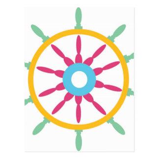 Colorful Ship Wheel Postcard