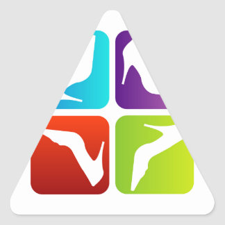 Colorful shoes triangle sticker