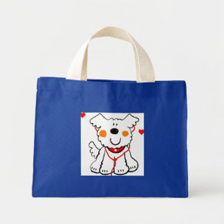 COLORFUL SHOPPING TOTE, HAPPY DOG WITH PAWPRINTS CANVAS BAGS