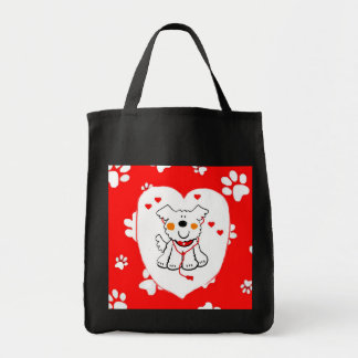 COLORFUL SHOPPING TOTE, HAPPY DOG WITH PAWPRINTS CANVAS BAG