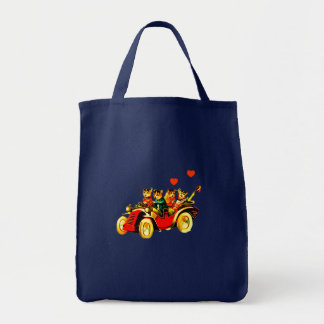 COLORFUL SHOPPING TOTE-VINTAGE CATS WILD RIDE BAGS