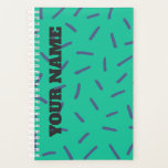 "Colorful short Strokes Planner<br><div class=""desc"">Abstract drawing of short strokes with customizable color,  green background.</div>"