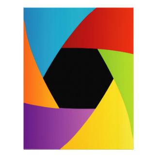 Colorful Shutter aperture background Letterhead Template