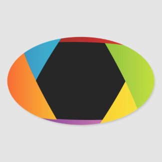 Colorful Shutter aperture background Oval Sticker