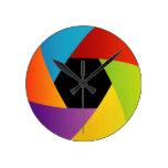 Colorful Shutter aperture background Round Clock